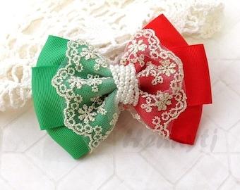 NEW : Christmas Holiday Ella Grace Collection - Red / Green ruban et dentelle Hair Bow noeud Applique. BRICOLAGE accessoires pour cheveux. Archet de tissu perle.