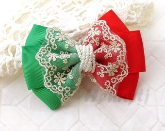 Neu: Christmas Holiday Ella Grace Collection - Red / Green Ribbon und Lace Haarschleife Knoten Applique. DIY Haarschmuck. Stoff-Perle-Bogen.
