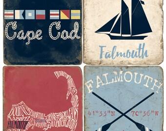 Falmouth Cape Cod (red) Italian Marble Coasters