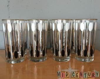 Mid Century Modern Libbey Tumblers With Atomic Design, set of 8