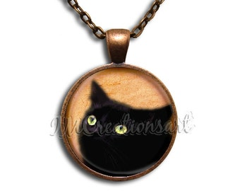 Black Cat Glass Dome Pendant or with Chain Link Necklace AN165