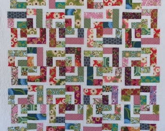 Patchwork Floral Quilt, Floral Throw Quilt, Bright Cheery Lap Quilt
