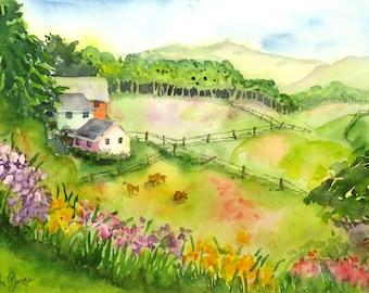 Nature field of wild flowers Watercolor Print Landscape art watercolor painting Farmhouse art farm landscape wall art farm painting A