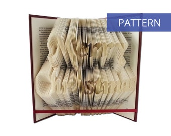 Folded Book Art Pattern - Merry Christmas - 344 Folds - Including manual - Bookfolding Pattern - Folded Book Pattern - Book Folding pattern