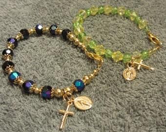 Miraculous Medal Beaded Bracelet Yellow Green