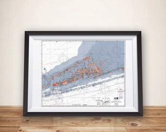 Florida Keys, Florida Keys Map, Keys, Map Art, Nautical Chart, Florida Keys Print, Beach House Decor, Sailing Map, Sailing Art