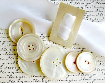 Sale MOP Buttons and Buckle Mother of Pearl Antique Collection, Victorian