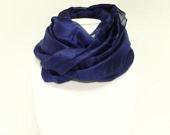 Blue / Navy Silk Scarf | 100% Silk Ruffled Scarf | Gift Ideas For Friends | Handmade