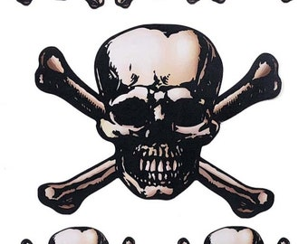 SKULL and CROSSBONE 3 Sizes Set of 6 Novelty Removable Fabric Decal Sticker
