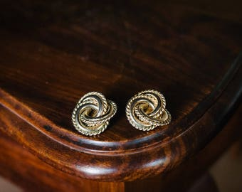 Vintage,1980's larg, ornate, twisted gold tone rope earings.