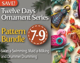 Twelve Days Series 7-9 PDF Pattern Bundle: Swan a-Swimming, Maid a-Milking, and Drummer Drumming
