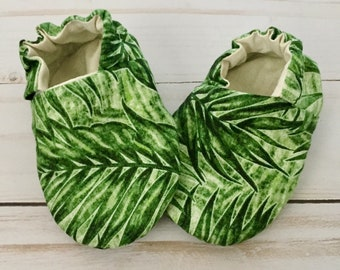 Palm Leaf Gender Neutral Reversible Fabric Baby Booties and Crib Shoes