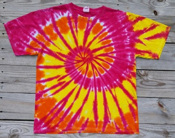 Yellow Pink and Orange Tie Dye Spiral TShirt, Adult Sizes, S M L XL XXL 3XL, Hippie Shirt, Tie Dye Shirt,  Women's Tie Dye