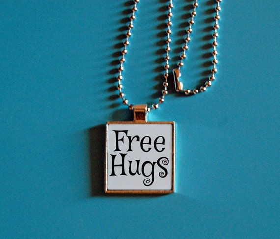 Free hugs necklace, funny pendant, I like hugs, cute jewelry, square jewelry, sarcasm, statement necklace, statement jewelry, silver