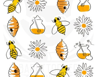 honeybee print, kids modern art, contemporary nursery, kids abstract art, modern nursery art, kids square wall art,  5x5, 8x8
