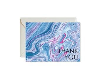THANK YOU Indigo + Fuchsia Marble Notecards + Envelopes Pack   Boxed Set (8)   Abstract   Modern   Bohemian