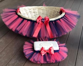 Tutu Basket Wipe holder combo, Tutu Gift Basket, baby wipe container, Tutu Baby Shower Basket, Wedding Basket, tutu Easter Basket,