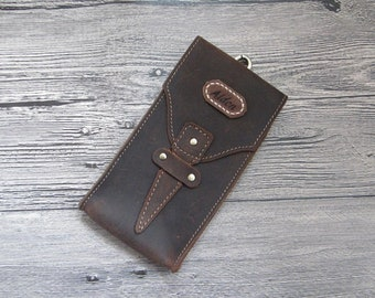Personalized Small Leather Belt Bag,Cell Phone Bag,Men's leather bag,Leather Hip Bag,Small Waist bag,Engraved leather bag,fanny pack