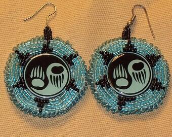 Native American Beaded Bear Paw Earrings