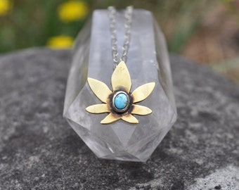 Tiny Turquoise Pot Leaf Necklace with Sterling Silver Chain