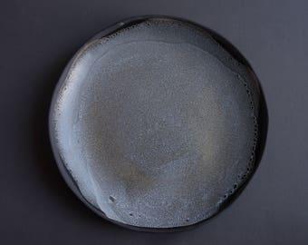 LARGE GREY on black, Handmade handcrafted anthracite stoneware SERVING bowl, satin matte glaze, natural nordic rustic