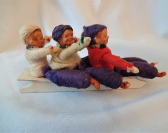 Christmas Ornament Vintage Cotton Sleigh with Chlidren