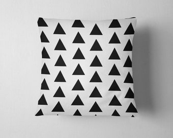 Black and white geometric triangles throw pillow