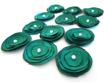 Green Satin Fabric Flowers, Flower Appliques, Floral Supplies, Handmade Flowers, Christmas Green, Flower Embellishment, Holiday Flowers,