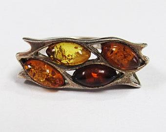 Vintage Sterling Silver Multi Color Amber Ring