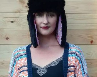 Faux Fur Trapper Hat.  Fully Lined with cotton fabric. Ladies warm cosy winter accessories. Very soft and fluffy. Great gift