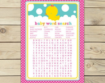 Girl Rubber Ducky Baby Shower Word Search Game - Pink Baby Shower Game - Instant Download - Girl Baby Shower Games Printable - Yellow Duck