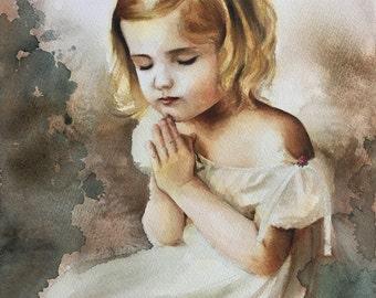 Original Watercolor Painting . Portrait of girl in prayer