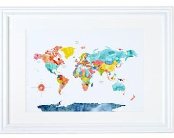 World Map Wall Art, Travel Gift, Watercolor Art Print, Meera Lee Patel