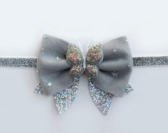 Gray Glitter Bow-Gray Felt Bow-Gray Toddler Bow-Gray Headband-Gray Birthday Bow-Gray Infant Bow-Toddler Glitter Bow-Gray Glitter Headband