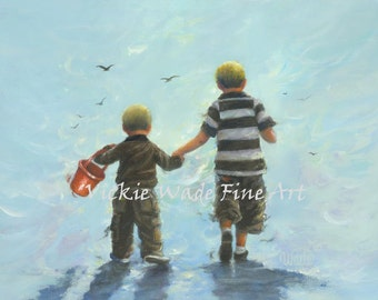 Two Little Beach Boys Art Print two boys, two beach boys images, nursery decor, nursery prints, two brothers paintings, Vickie Wade Art