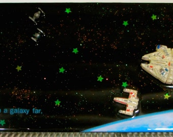 In a Galaxy Far Far Away, Star Wars Space Battle, Death Star X Wing Tie Fighter Mixed Media Art