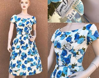 Vintage 1960's Dress ~ Emma Domb ~ Blue Flowers, Off The Shoulder, Built In Slip ~ Say's SZ 9,  But It Is More Like  SZ 6 ~ Great Condition
