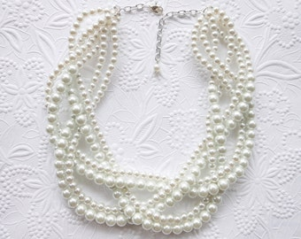 Pearl Statement Necklace, Chunky Pearl Necklace, White Pearl Necklace, Braided Pearl Necklace, Bridal Necklace