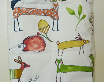 Pop animals motif cotton Tote Bag  - with lining