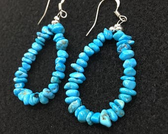 Sleeping Beauty Turquoise Nugget Loop Earrings, Finished With Sterling Silver Beads and French Wires