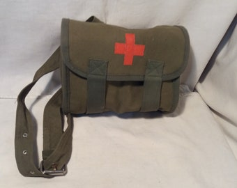 Vintage Bulgarian Army Green Canvas Medical Bag for Dressings - NEW
