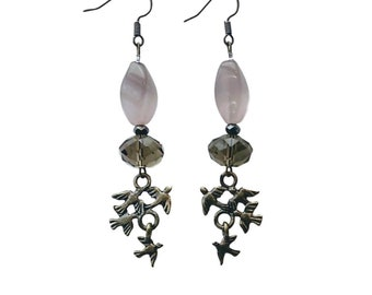 """Handmade Earrings with Indian Furniture, Pink Stone Cat's Eye and Glass Beads - """"Birdy"""""""