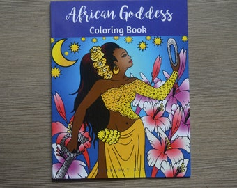 African Goddess Adult Coloring Book -adult coloring book for adults, 10 pages, mindfulness, inner stength