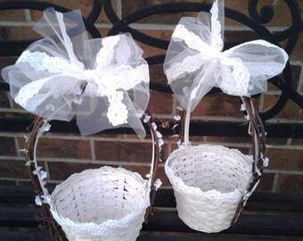 Enchanted Garden Flower Girl Baskets, Antique Ivory Lace and Tulle, Grapevine and Whitewashed Rattan