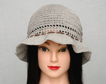 Natural linen hat Crochet bucket hat women Linen sun hat Beach hat Summer brimmed hat Boho hat Gypsy hat Linen crochet hat girlfriend gift