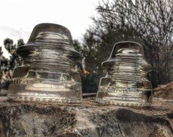 Pair of Clear Hemingray 19 Glass Insulators