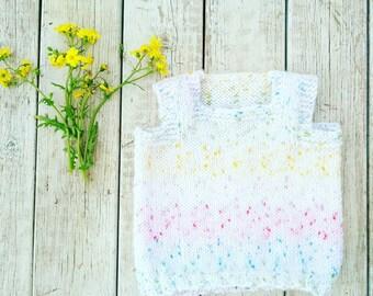 Baby Girl Sweater.Baby Sweater.White Sweater.Baby Girl Gift.3 Months to 0-3 Months.Knit baby sweater.Sweater.Sweaters.Sweater toddler girl