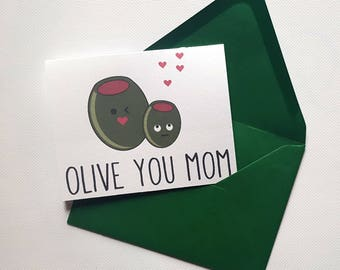 Olive You Mom - Mother's Day Single Thank You Card with Matching Envelope