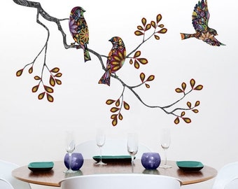 ON SALE Tree Branch Decal and Bird Wall Decals