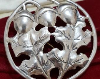 Vintage Sterling Silver Brooch, Large Oak Leaves and Acorns, 1980s